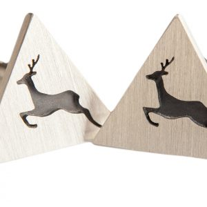 Stag Cufflinks solid sterling silver (pair)